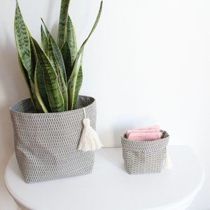 Duo of Japanese fabric baskets with pompom